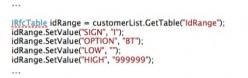 Setting the idRange parameters